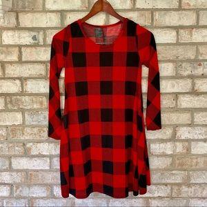 Black & Red Plaid Dress Tunic w/ Pockets